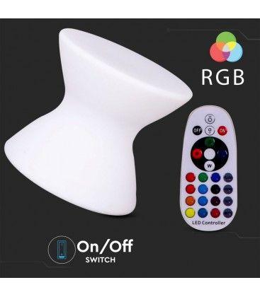 V-Tac RGB LED stol - Oppladbart, med fjernkontroll, 40x40x36 cm