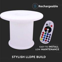 Lamper V-Tac RGB LED bord - Oppladbart, med fjernkontroll, Ø70x54 cm