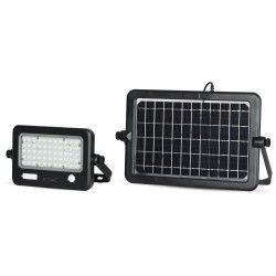 Flomlys V-Tac 10W LED Solcelle lyskaster - Solcelle inkludert, Innebygd batteri, med sensor, utendørs