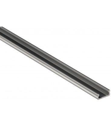 Aluprofil Type D til innendørs IP21 LED strip - Lav, 1 meter, ubehandlet aluminium, velg deksel
