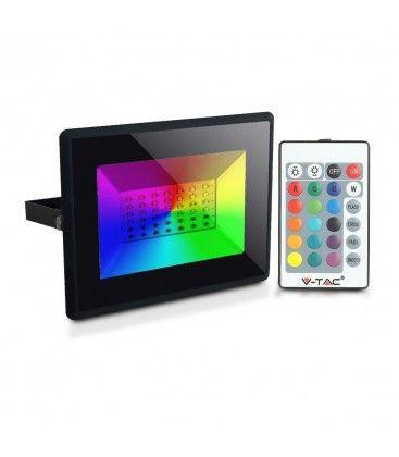 V-Tac 30W LED lyskaster RGB - Med RF fjernkontroll, utendørs