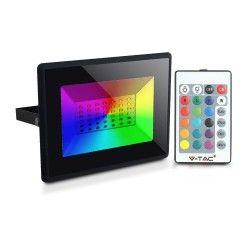 Flomlys V-Tac 50W LED lyskaster RGB - Med RF fjernkontroll, utendørs