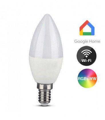 V-Tac 5W Smart Home LED pære - Google Home, Amazon Alexa kompatibel, E14