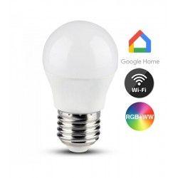 E27 LED V-Tac 5W LED pære - Google Home, Amazon Alexa kompatibel, E27, G45