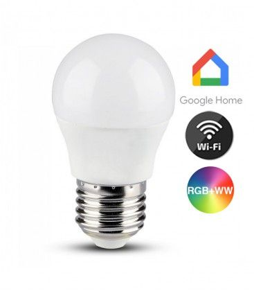V-Tac 5W Smart Home LED pære - Google Home, Amazon Alexa kompatibel, E27, G45