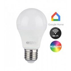 V-Tac 11W Smart Home LED pære - Google Home, Amazon Alexa kompatibel, E27, A60