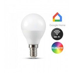 E14 LED V-Tac 5W Smart Home LED pære - Google Home, Amazon Alexa kompatibel, P45, E14