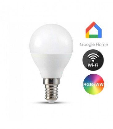 V-Tac 5W Smart Home LED pære - Google Home, Amazon Alexa kompatibel, P45, E14