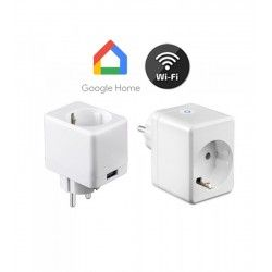 LED lyskilder V-Tac Smart Home Wifi stikkontakt - Virker med Google Home, Alexa og smartphones, med USB uttak, 230V