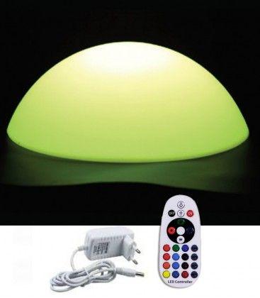 V-Tac RGB LED halvkule - Oppladbart, med fjernkontroll, Ø50 cm