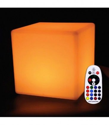 V-Tac RGB LED firkant - Oppladbart, med fjernkontroll, 40x40 cm