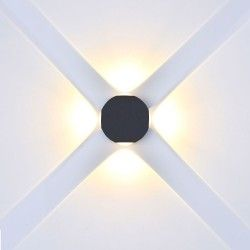 V-Tac 4W LED svart vegglampe - Rund, IP65 utendørs, 230V, inkl. lyskilde