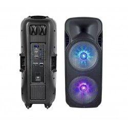 Partyhøytaler på hjul - 150W, oppladbart, Bluetooth, RGB, inkl. mikrofon