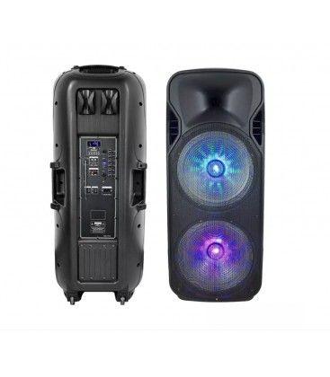 150W partyhøytaler på hjul - Oppladbart, Bluetooth, RGB, inkl. mikrofon