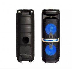 Partyhøytaler på hjul - 120W, oppladbart, Bluetooth, diskolys, inkl. mikrofon