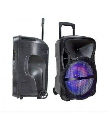 35W partyhøytaler på hjul - Oppladbart, Bluetooth, RGB, inkl. mikrofon