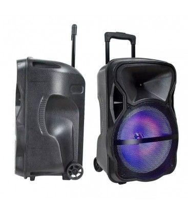 Partyhøytaler på hjul - 50W, opppladbart, Bluetooth, RGB, inkl. mikrofon