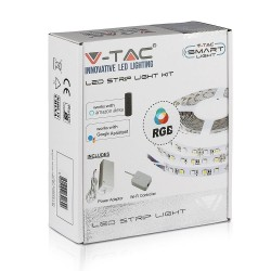 12V RGB V-Tac 10W/m RGB LED strip komplett kit - 5m, 60 LED per meter, Smart Home /u fjernkontroll