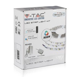 LED lyskilder V-Tac 10W/m RGB+W LED strip komplett kit - 5m, 60 LED per meter, Smart Home /u fjernkontroll
