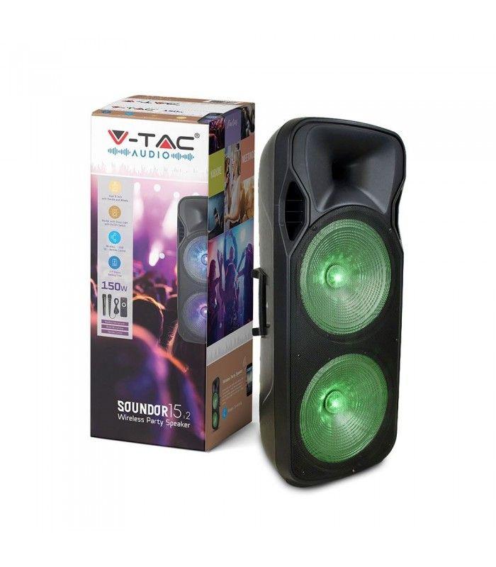 Partyhøytaler på hjul 150W, oppladbart, Bluetooth, RGB