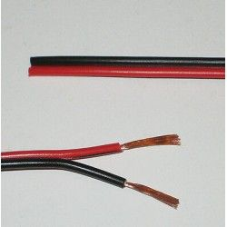 Tilbehør 12-24V kabel rød/svart - 2x0,5mm², metervare, min. 5 meter