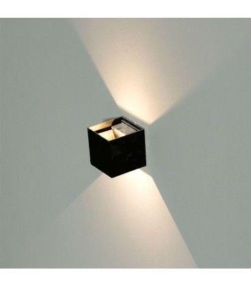 V-Tac 12W LED svart vegglampe - Firkantet, justerbar spredning, IP65 utendørs, 230V, inkl. lyskilde