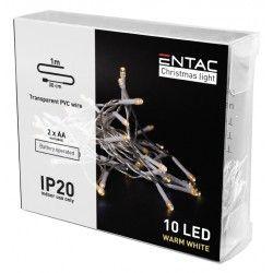 Black Friday 1 meter innendørs LED julelysslynge - Batteri, 10 LED, varm hvit