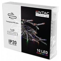 1 meter innendørs LED julelysslynge - Batteri, 10 LED, multicolor