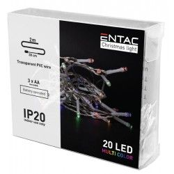 Black Friday 2 meter innendørs LED julelysslynge - Batteri, 20 LED, multicolor