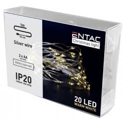 Black Friday 1 meter innendørs LED julelysslynge - Batteri, 20 LED, varm hvit