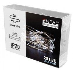 Black Friday 1 meter innendørs LED julelysslynge - Batteri, 20 LED, kald hvit