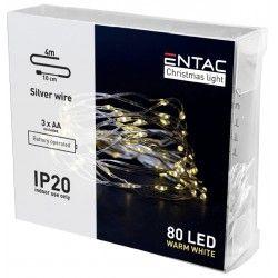 Black Friday 4 meter innendørs LED julelysslynge - Batteri, 80 LED, varm hvit