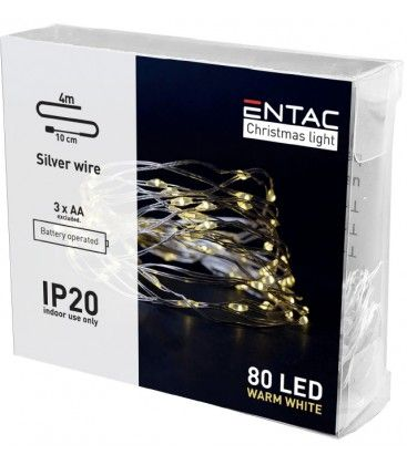 4 meter innendørs LED julelysslynge - Batteri, 80 LED, varm hvit