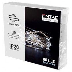 Black Friday 4 meter innendørs LED julelysslynge - Batteri, 80 LED, kald hvit