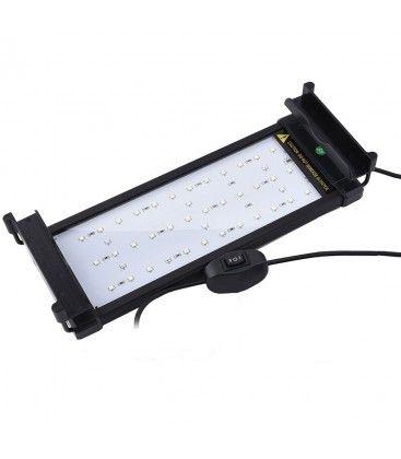 26-50 cm akvarie armatur - 6W LED, hvit/blå, justerbar