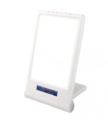 LED lysterapi lampe med timer/alarm - 18W, hvit/blå, 10.000 LUX, innebygd batteri