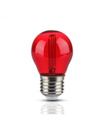 V-Tac 2W Farget LED kronepære - Rød, Karbon filamenter, E27