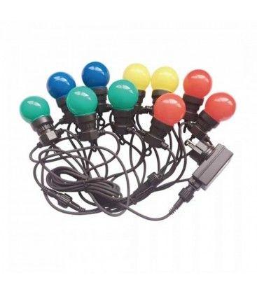 V-Tac LED lyskæde med 10 stk. 0,5W RGB pærer - 5 meter, Fargeskift, 230V, inkl. lyskilde