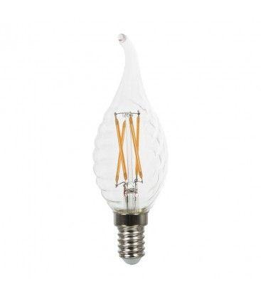 V-Tac 4W LED flammepære med twist - Karbon filamenter, varm hvit, E14