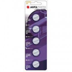 Batterier 5 stk AgfaPhoto Lithium knappebatteri - CR2032, 3V