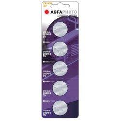 Batterier 5 stk AgfaPhoto Lithium knappebatteri - CR2450, 3V