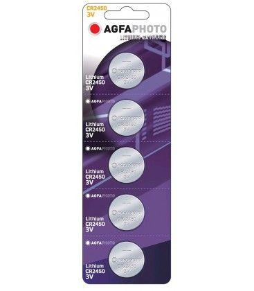 CR2450 5-pak AgfaPhoto knappebatteri - Lithium, 3V