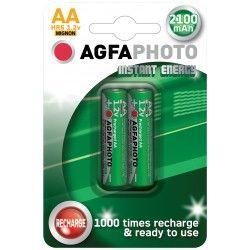 Batterier 2 stk AgfaPhoto oppladbart batteri - AA, 1,5V