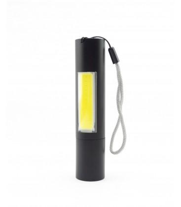 LED lommelykte med zoom - 3W, oppladbart, powerbank funktion, 1200mAh, svart