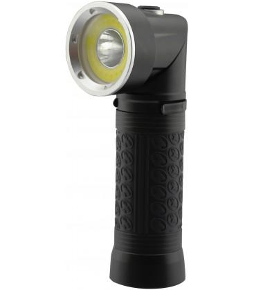 LED lommelykte 90° roterbar - 5W, magnet i bunden, 3xAAA, svart