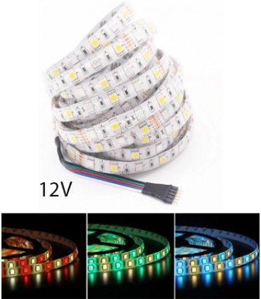12W/m RGB+WW LED strip - 5m, IP65, 60 LED per meter, 12V