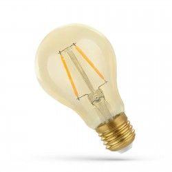 LED lyskilder 2W LED pære - Karbon filamenter, rav farget glas, ekstra varm, E27
