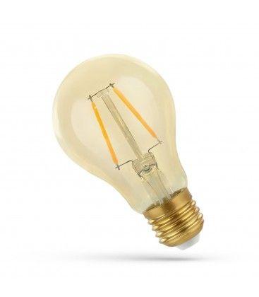 2W LED pære - Karbon filamenter, rav farget glas, ekstra varm, E27