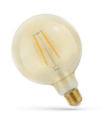 2W LED globepære - Karbon filamenter, rav farget glas, ekstra varm, E27