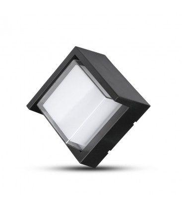 V-Tac 7W LED svart vegglampe - Firkantet, IP65 utendørs, 230V, inkl. lyskilde